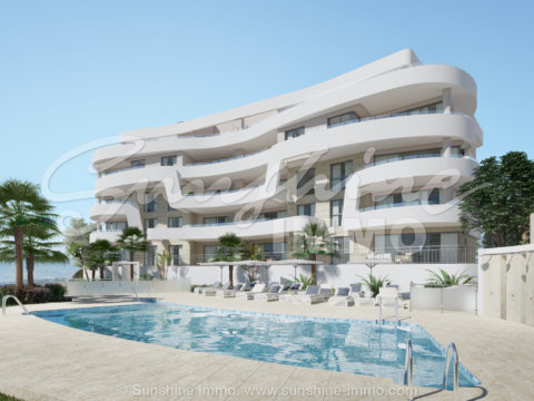 Resort Community Aria by the Beach, Mijas Costa. Exclusive 3 bedroom apartments with direct access to the beach. Welcome to Costa del Golf. As from 480.000 euros