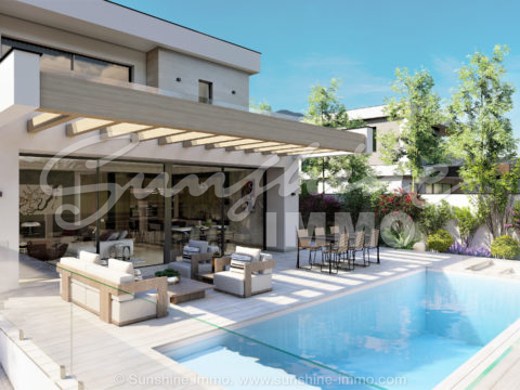 Villa under construction in Sierra Chica, Coín. Four bedrooms, two floors on a plot of 450m2. Pool and breathtaking views of the Guadalhorce Valley